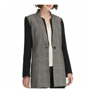 Dkny Womens  Plaid Ponte Combo Jacket